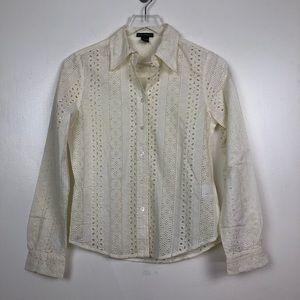 Club Monaco Eyelet Button Down Shirt Small